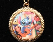 Lilo and Stitch Gold Tone Pendant Necklace Classic Upcycled Book Disney Surfing