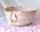 Shabby Chic Basket, Handmade Pink Basket, Brush Holder, Makeup Organizer, Coiled Fabric Basket, Cottage Chic Moses Basket