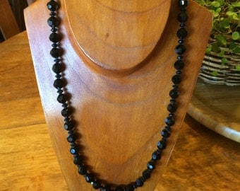 Sexy Stunning French Jet Cut Black Beaded Necklace 22""
