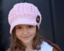 CROCHET PATTERN, Crochet Hat Pattern, Children's Crochet Hat Pattern, Crochet Hat Pattern for Kids, Chunky Cable Newsboy Hat Pattern #105
