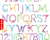 Sale! Doodle Alphabet, Hand Drawn Font, Uppercase and Numbers - Commercial and Personal Use