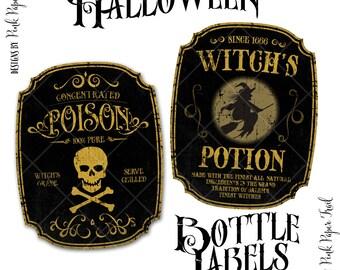 Halloween Party Bottle Labels, Vintage Bottle Labels, Instant Download, Print Your Own