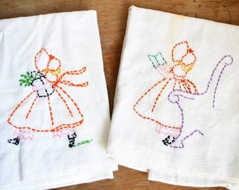 Vintage Embroidered Dish Towels Large Feedsack Kitchen Towels Handmade Hand Embroidered Cup Towels