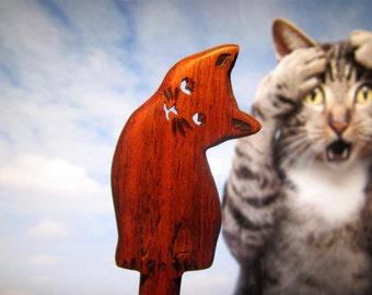 Hair Stick - Kitten in Walnut Wood