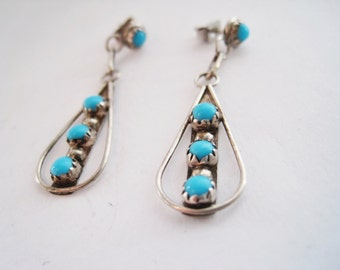 Vintage Native American Sterling Silver and Turquoise Dangle Earrings
