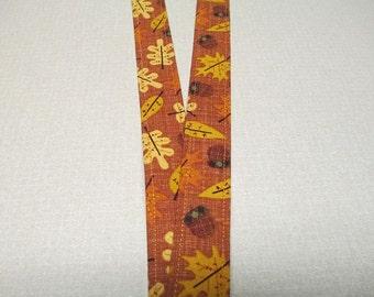 Fabric Lanyard, fall leaves and acorns