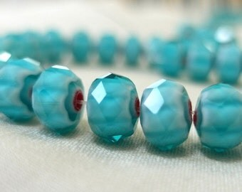 "TWO STRANDS 8mm Millefiore Turquoise Blue with Red Accent Faceted Crystal Rondell Beads, 8mm x6mm, 8"" strands, 35 beads each, 70 beads total"