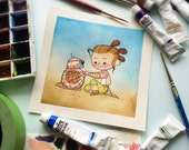 Rey and BB8 Watercolor Painting Print by Michelle Coffee