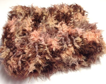 Extra Soft Brown Scarf, Furry Knit Scarf in Brown Shades, Winter Accessories, Womens Scarves