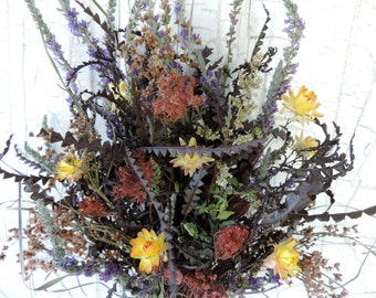 Woodland Natural Dried Flower Bouquet Queen Anne's Lace Dyed with Sandlewood Purple Flowers Meadow Grass Natural Pods Free Lavender Sachet