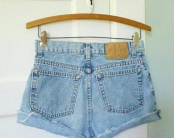 Vintage 80s 90s Revival Grunge light Blue GAP Denim Jean Cut Off Festival Shorts 25 26