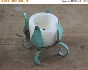 RESERVED SHOP SALE Small Vintage Green Metal Tole Candleholder