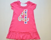 Rainbow Heart Girls 4th Birthday Dress, Applique Number Tunic, Pink Ruffle Dress, Ready to Ship, Size 5 6, Number 4 Top, Short Sleeve 4T