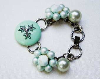 Mint Green & Antique Silver Vintage Bracelet - Flower, Pearl, Large Textured Chain
