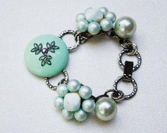 Mintgrün & Antik Silber Vintage Armband - Blume, Pearl, große strukturierte Kette