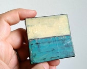 "Abstract Mini Painting: Miniature 2x2"" Original Art, Mini painting, Mixed media Landscape, Art Contemporary Art, Yellow, Aqua, ""Horizon III"""