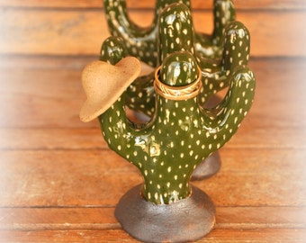 Cactus ring holder cactus decor mini cactus ceramic cactus jewelry display bohemian decor wedding ring holder ring trees southwestern