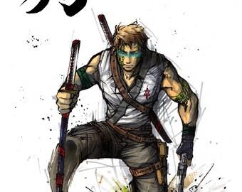 8x10 PRINT of sumi/marker piece of Samurai Ranger Gunslinger with Japanese calligraphy Hunter