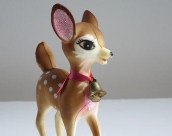 Vintage Deer Figurine, Kitsch Plastic Reindeer, 50s Hong Kong Plastic Reindeer Bambi Fawn, Kitschmas Xmas Figurine Decor, Plastic Deer