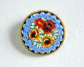 Vintage Micro Mosaic Brooch, Vintage Lapel Hat Pin, Mini Mosaic Flowers Blue Red Green, Vintage Hat Pin made in Italy SwirlingOrange11