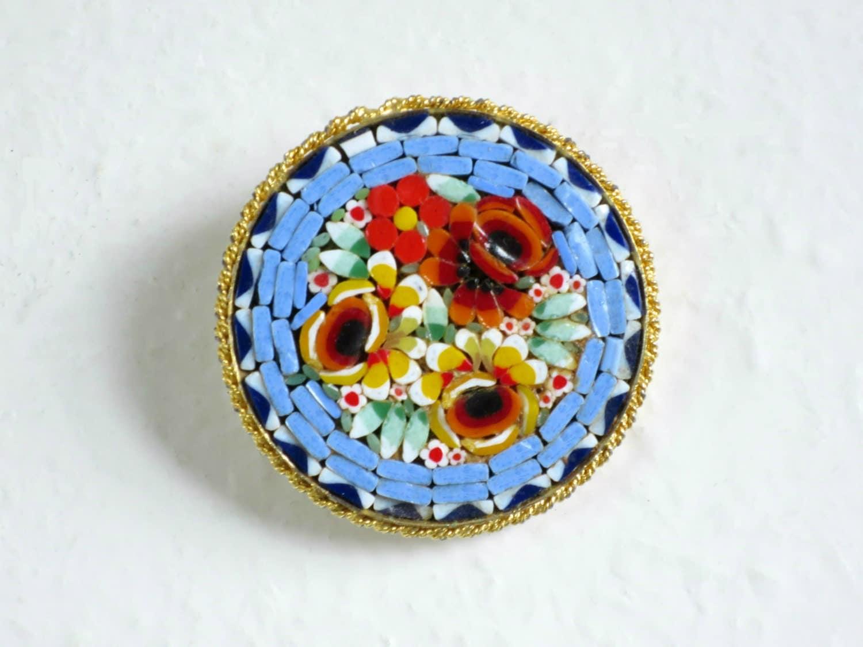 vintage micro mosaic brooch vintage lapel hat pin mini. Black Bedroom Furniture Sets. Home Design Ideas