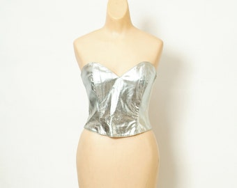 Vintage  Top / Evening / Party / Club /  90s / 80s / retro 80s dress / metallic  top / Kid 90s / silver / club kid / strapless crop / size10