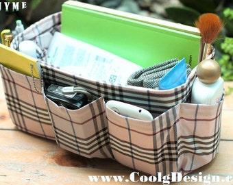 Purse Organizer Insert Handmade Gift / Extra Sturdy / Pink Plaid / Medium 22x8cm