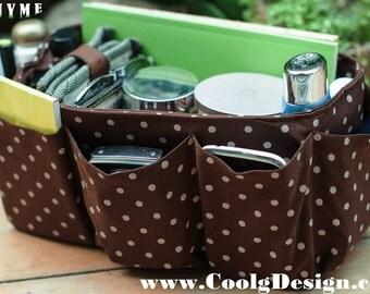 Purse Organizer Insert, Bag Organizer / Extra Sturdy / Brown Polka Dots / Large 25x10cm