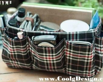 Purse organizer insert multi-pocket for handbag black plaid Large 25x10 cm