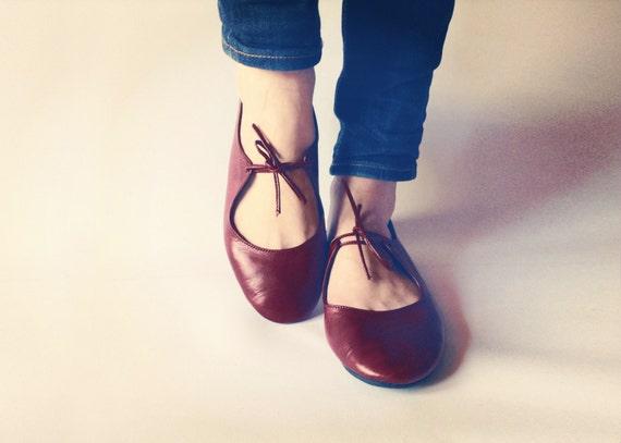 Pisos de ballet zapatos de cuero hechos a mano - pasión - rojo oscuro - CUSTOM FIT