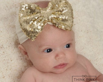 Baby Headbands, Gold Christmas baby headband, Gold sequin Bow Headband, Girls Headband,Gold baby headband,Big Bow Headband, head wrap.