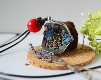 Tiny Frame Purse Necklace - Lavender Sachet - Length Adjustable, made from Japanese fabric - Espresso