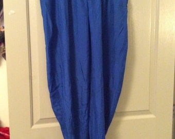 Carole little silk pants size 6/full legs-royal blue/Carole little for Saint Tropez wear