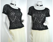 90s 80s black sheer crochet lace short sleeved blouse