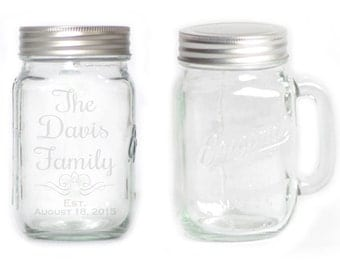 Mason Jar  Mug - 15 oz. small  2746 Rochester Script Personalized with Family name and date
