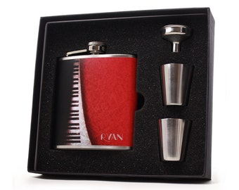 Personalized Hip Flask // Abstract Piano Gift Flask // 6oz