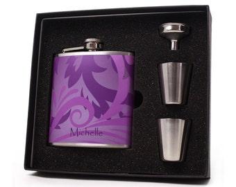 Flask for Women // Purple Vines Liquor Flask // 6oz