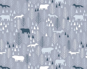 Icy Pines in Grey  581 - THE BIG CHILL - Dear Stella Design Fabric - By the Yard