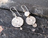 Textured Tin Asymmetric Earrings, Arty Look. Mismatched Earrings, Vintage Tin, 10th Anniversary