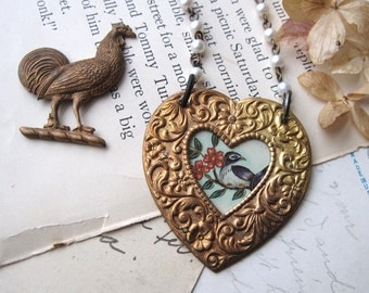 Tin and Brass Heart Necklace,  Bird in a Heart,  10th Anniversary. Sweetheart Gift