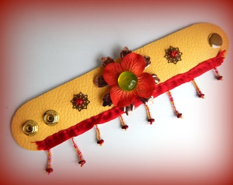 Cuff Bracelet, Colorful Cuff, Lolita Cuff, Red and Yellow Wrap-around Bracelet, Flowered Bracelet, Snap-On Bracelet