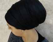 headscarf, long rectangular black basic head scarf, super light, upgrade your casual look