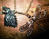 "Sansa Stark's ""Dragonfly"" and House Crest ""Direwolf"" Reversible Necklace Set - Courage, Nobility, Strength, Honor, Beauty, Loyalty, Love"