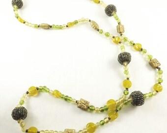 Glass Beaded Long Necklace, Black Big Strung Bead Balls, Gold Metal Flower Box, Translucent Yellow Green Beads