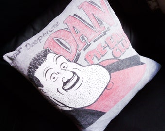 Desperate Dan Pillow Cushion Cover Upcycled Tshirts Eco