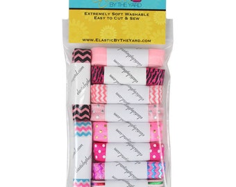 Becca Pink Multi Pack of Printed Fold Over Elastic 10yd