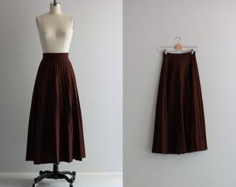 Pleated Maxi Skirt . 1970s Chocolate Brown Skirt . 70s Skirt