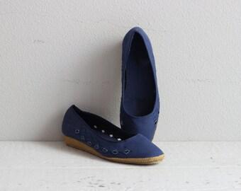 Vintage 50s Espadrilles . Navy Blue Ballet Wedges . 1950s Shoes . Wedge Heels