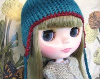 Teal Crocheted Blythe Earflap Hat