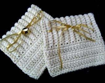 Handmade Boot Cuffs - Cream Gold Crochet Christmas Boot Cuffs - Detachable Jingle Bells - Vegan Friendly